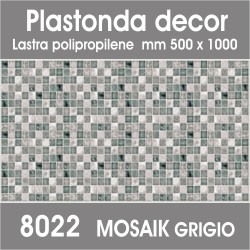 Plastonda decor MOSAIK GRIGIO (8022) PANNELLO DECORATIVO cm 50x100 (Confezione da 15pz)