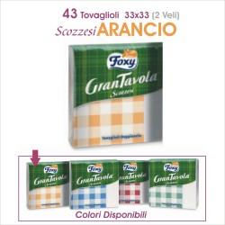 FOXY GRAN TAVOLA 43 TOVAGLIOLI 33x33 2Veli CARTA SCOZZESE ARANCIO