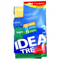 EUDOREX - PANNI IDEA MICROFIBRA (Giallo-Blu-Verde) EUDOREX 3pz da 30x32cm - a soli 2,40€ su FESEA online - fesea.shop