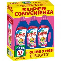 BIO PRESTO - Confezione 3pz da 950ml 57 Lavaggi BIO PRESTO DETERSIVO COLOR BUCATO LAVATRICE LIQUIDO RIMOZIONE DELLE MACCHIE -...