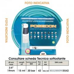 """TUBO POSEIDON  3/4"""" da 15mt Diametro Interno 17mm Diametro Esterno 25mm ANTITORSION TECHNOLOGY (Magliato)"""