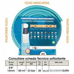 """TUBO POSEIDON   5/8"""" da 50mt Diametro Interno 15mm Diametro Esterno 21mm ANTITORSION TECHNOLOGY (Magliato)"""