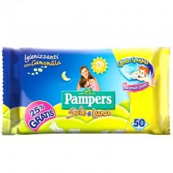PAMPERS - SALVIETTE BABY PAMPERS SOLE E LUNA IGIENIZZANTI con CAMOMILLA 46pz - a soli 1,20€ su FESEA online - fesea.shop