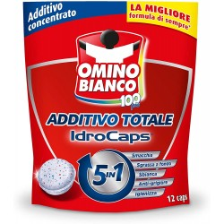 OMINO BIANCO 100più 5in1 ADDITIVO concentrato IDROCAPS Smacchia- Sgrassa a fonfo- Sbianca- Anti-grigiore- Igienizza confezione