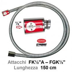 """Tubo Doccia SPIRAL BLACK FLESSIBILE DOCCIA FF cm 150 Attacco Conico F x  1/2""""F FK½""""A – FGK½""""  1500mm CHROMALUX"""