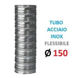TUBO FLESSIBILE INOX Ø 150mm Doppia Parete, Spessore: my 120 P. Interna: in Acciaio INOX aisi 316 P. Esterna: in Acciaio INOX a