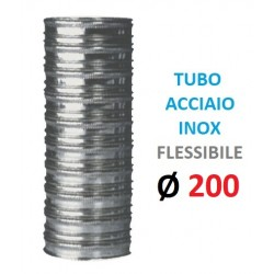 TUBO FLESSIBILE INOX Ø 200mm Doppia Parete, Spessore: my 120 P. Interna: in Acciaio INOX aisi 316 P. Esterna: in Acciaio INOX a