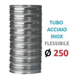 TUBO FLESSIBILE INOX Ø 250mm Doppia Parete, Spessore: my 120 P. Interna: in Acciaio INOX aisi 316 P. Esterna: in Acciaio INOX a